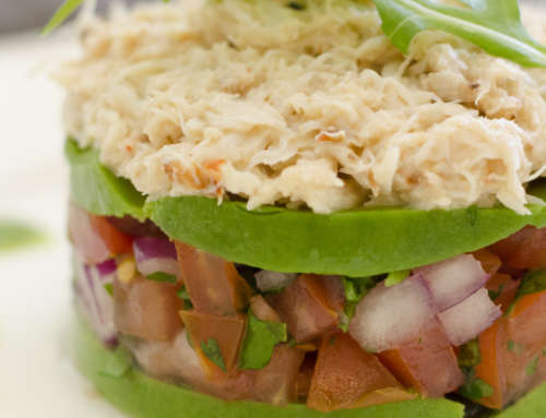 Crab Salad Stack with Basil Dressing