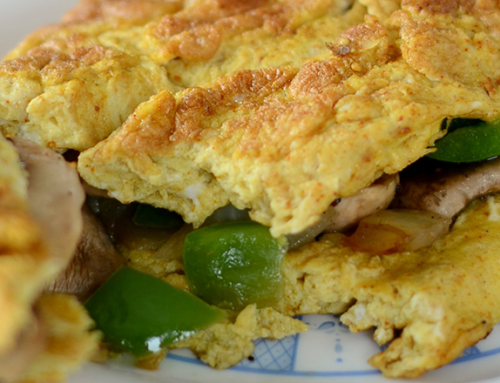 Curried Mushroom and Green Pepper Omelet