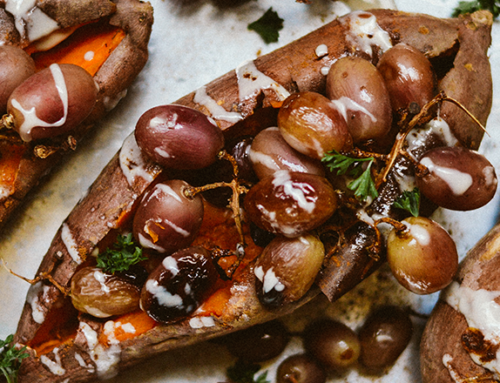 Luck-Stuffed Sweet Potatoes with Maple Tahini Drizzle