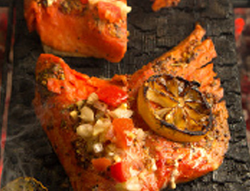Plank-Grilled Salmon Tomato Fennel Relish
