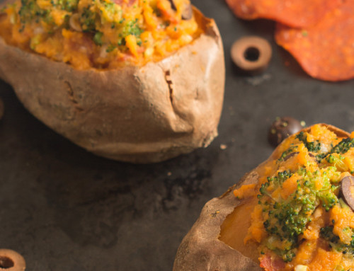Twice-Baked Pizza Sweet Potatoes