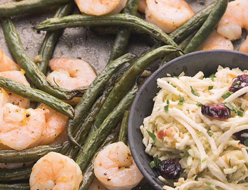 Roasted Shrimp and Green Beans with Horseradish Celery Root Slaw