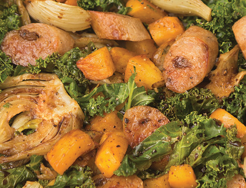 Skillet Roasted Fennel, Rutabaga, Kale, and Chicken Sausage