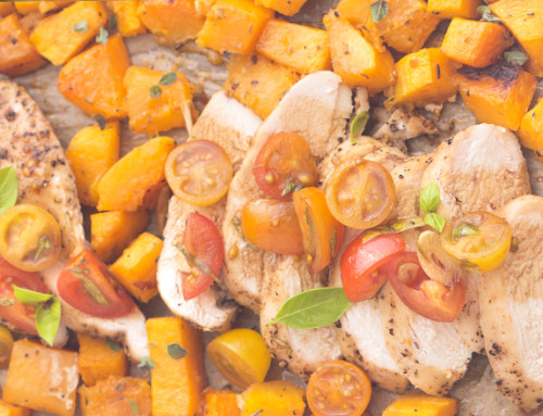One-Pan Bruschetta Chicken and Squash