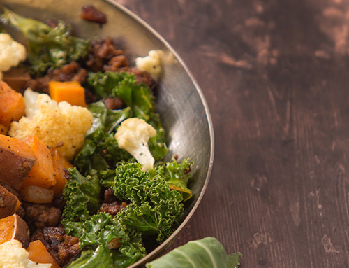 Roasted Vegetable and Spiced Beef Skillet