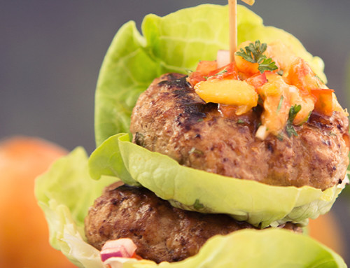 Spicy Pork Burgers with Fresh Peach Salsa