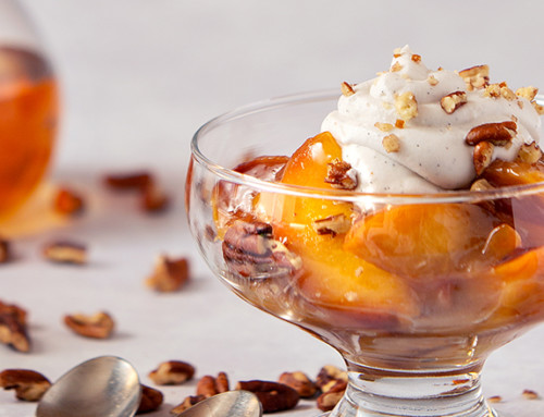 Bourbon-Spiked Peaches with Vanilla Coconut Cream