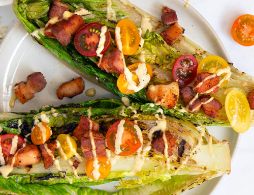 """Grilled Caesar with Pork Belly """"Croutons"""""""