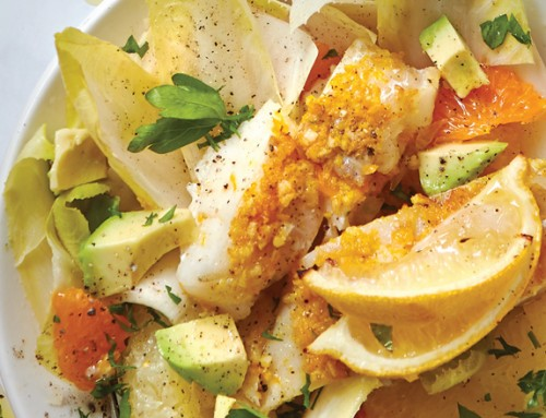Roasted Cod with Citrus-Endive Salad