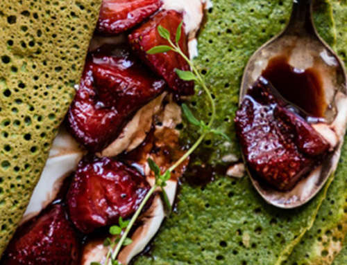 Flourless Spinach Crepes with Balsamic Roasted Strawberries
